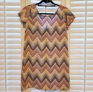 Chevron, multi-colored print dress